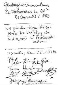 Förderkreis RV Bodenwerder Gründungsurkunde
